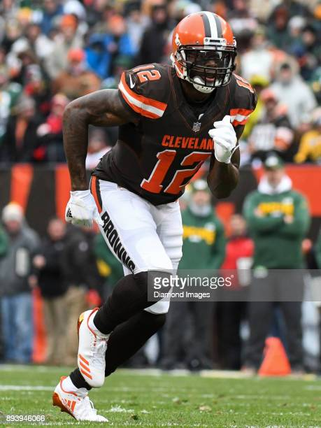 Wide receiver Josh Gordon of the Cleveland Browns runs a route in the first quarter of a game on December 10 2017 against the Green Bay Packers at...