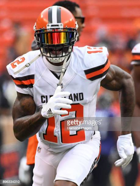 Wide receiver Josh Gordon of the Cleveland Browns runs a route prior to a game on December 17 2017 against the Baltimore Ravens at FirstEnergy...
