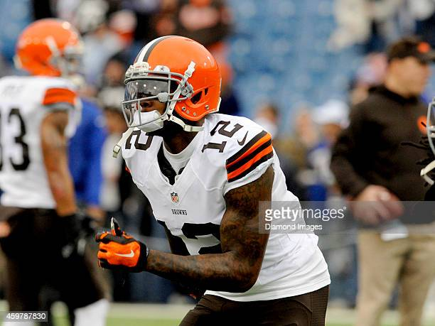 Wide receiver Josh Gordon of the Cleveland Browns runs during warm ups prior to a game against the Buffalo Bills on November 30 2014 at Ralph Wilson...