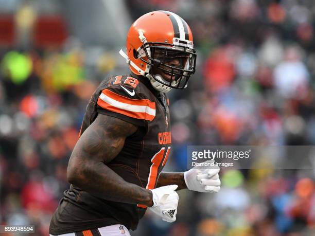 Wide receiver Josh Gordon of the Cleveland Browns runs off the field after a touchdown drive in the second quarter of a game on December 10 2017...