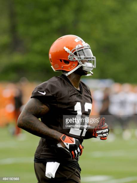Wide receiver Josh Gordon of the Cleveland Browns runs onto the field during an OTA practice at the Cleveland Browns training facility in Berea Ohio...