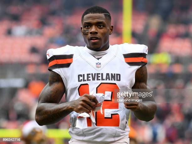 Wide receiver Josh Gordon of the Cleveland Browns runs onto the field prior to a game on December 17 2017 against the Baltimore Ravens at FirstEnergy...