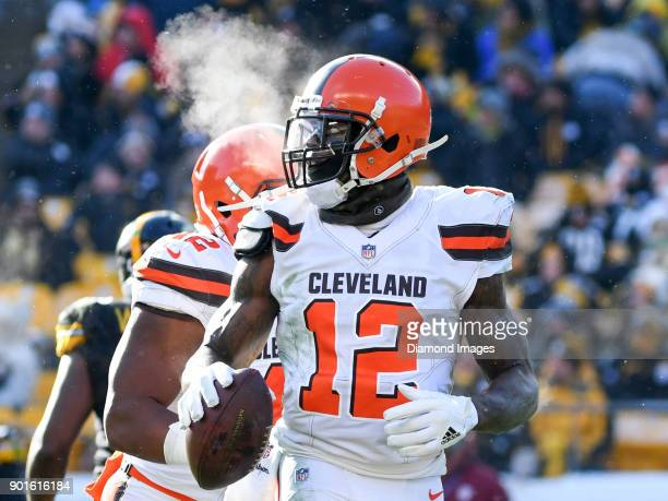 Wide receiver Josh Gordon of the Cleveland Browns runs toward the sideline in the second quarter of a game on December 31 2017 against the Pittsburgh...