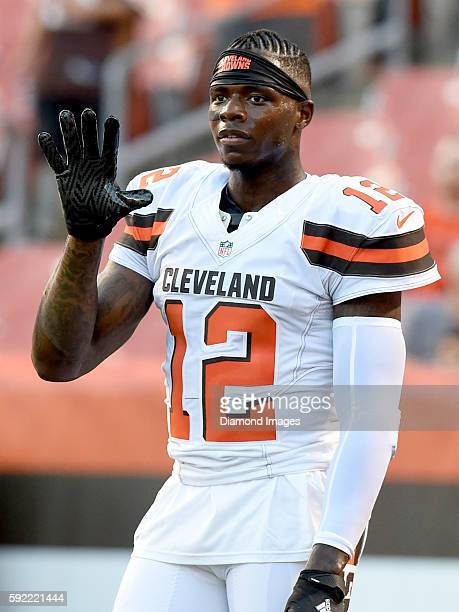 Wide receiver Josh Gordon of the Cleveland Browns stands on the field prior to a preseason game against the Atlanta Falcons on August 18 2016 at...
