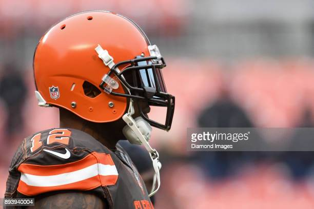 Wide receiver Josh Gordon of the Cleveland Browns stands on the field prior to a game on December 10 2017 against the Green Bay Packers at...