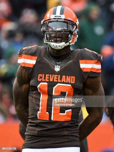 Wide receiver Josh Gordon of the Cleveland Browns stands on the field during an injury timeout in the fourth quarter of a game on December 10 2017...