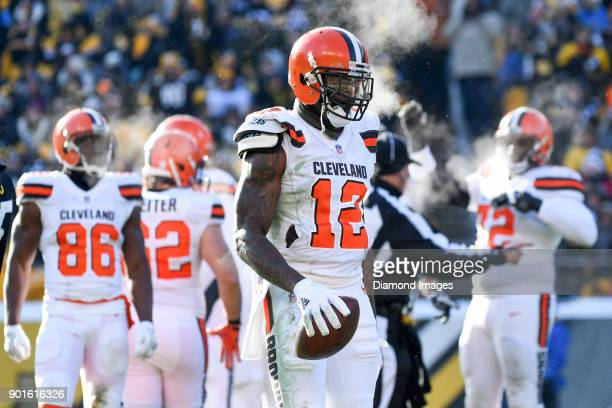 Wide receiver Josh Gordon of the Cleveland Browns stands on the field in the second quarter of a game on December 31 2017 against the Pittsburgh...
