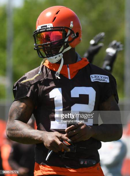 Wide receiver Josh Gordon of the Cleveland Browns stands on the field during an OTA practice at the Cleveland Browns training facility in Berea Ohio