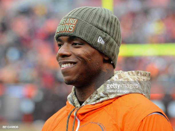 Wide receiver Josh Gordon of the Cleveland Browns walks onto the field prior to a game on November 19 2017 against the Jacksonville Jaguars at...