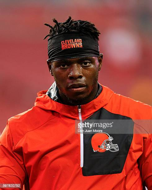 Wide Receiver Josh Gordon of the Cleveland Browns warms up before the start of a preseason game against the Tampa Bay Buccaneers at Raymond James...