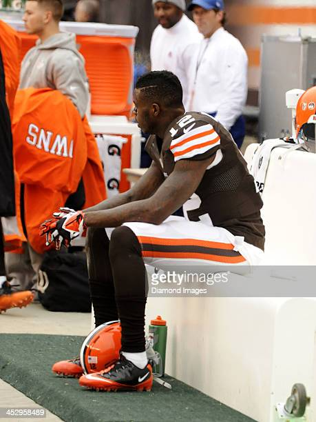 Wide receiver Josh Gordon of the Cleveland Browns watches the action fom the sideline during a game against the Jacksonville Jaguars on December 1...