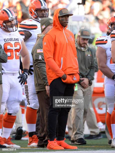 Wide receiver Josh Gordon of the Cleveland Browns watches the action from the sideline in the fourth quarter of a game on November 26 2017 against...