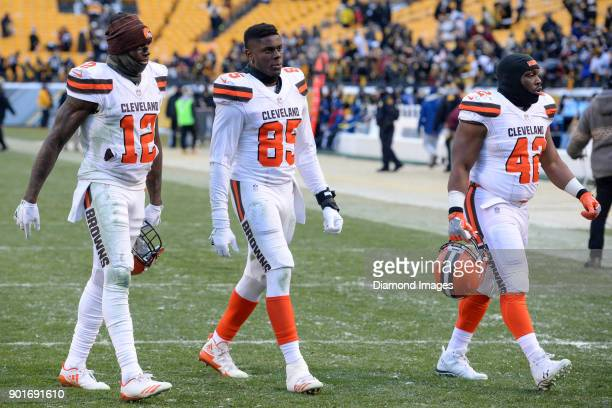 Wide receiver Josh Gordon tight end David Njoku and fullback Marquez Williams of the Cleveland Browns walk off the field after a game on December 31...
