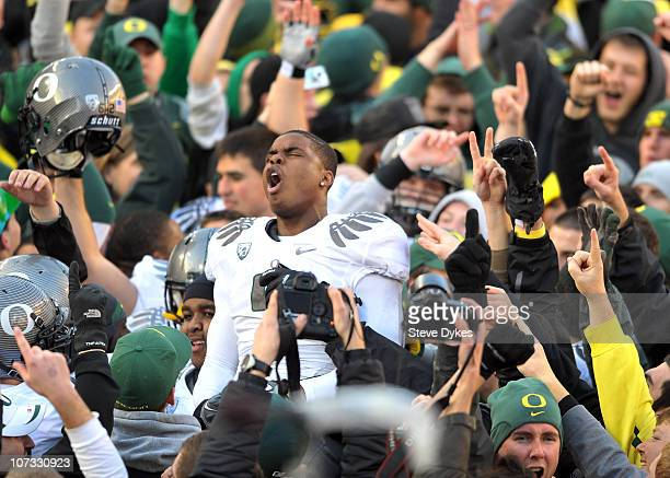 Wide receiver Josh Huff of the Oregon Ducks celebrates on the field after the game at Reser Stadium on December 4 2010 in Corvallis Oregon he Ducks...