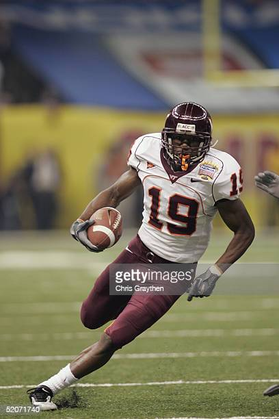 Wide receiver Josh Hyman of the Virginia Tech Hokies runs against the Auburn Tigers during the Nokia Sugar Bowl on January 3 2005 at the Superdome in...