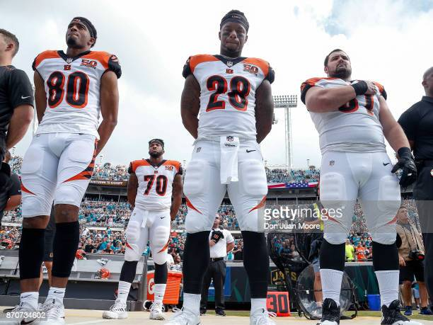 Wide Receiver Josh Malone, Tackle Cedric Ogbuehi, Runningback Joe Mixion and Center Russell Boling of the Cincinnati Bengals during the National...
