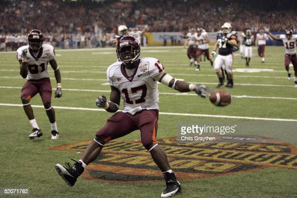 Wide receiver Josh Morgan of the Virginia Tech Hokies scores a touchdown against the Auburn Tigers during the Nokia Sugar Bowl on January 3 2005 at...