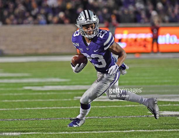 Wide receiver Joshua Youngblood of the Kansas State Wildcats rushes up field against the Iowa State Cyclones during the first half at Bill Snyder...