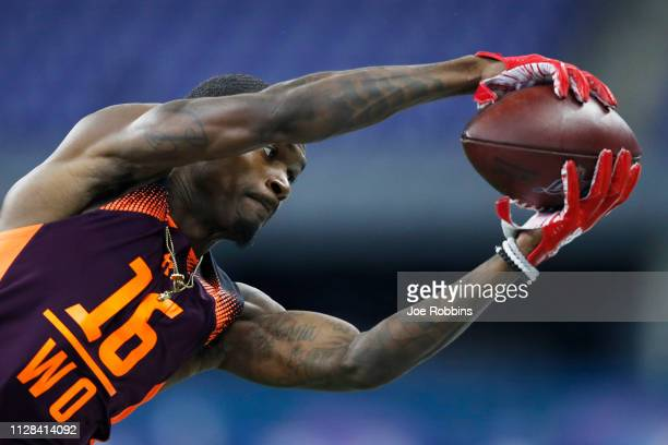 Wide receiver Jovon Durante of Florida Atlantic catches a pass during day three of the NFL Combine at Lucas Oil Stadium on March 2 2019 in...