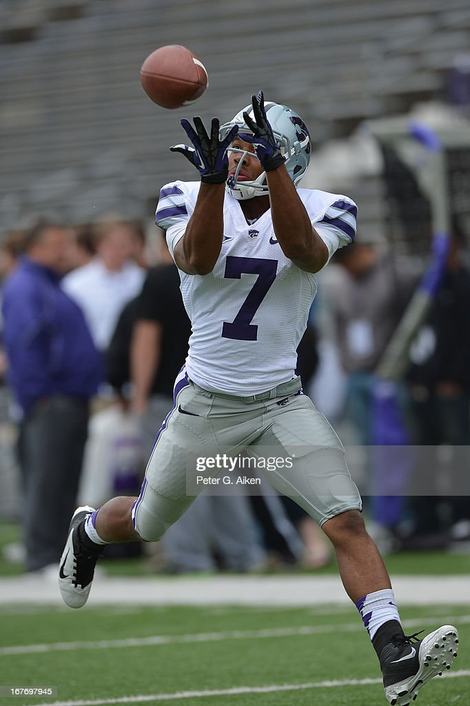 Wide receiver Judah Jones #7 of the Kansas State Wildcats catches a pass before the Purple and White Spring Game on April 27, 2013 at Bill Snyder Family Stadium in Manhattan, Kansas.