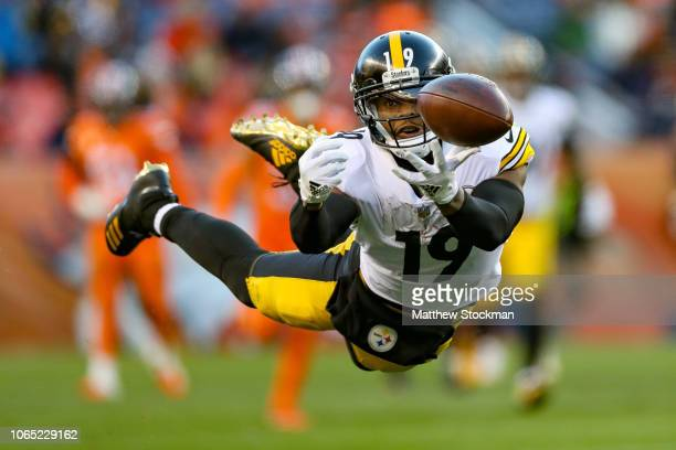 Wide receiver JuJu SmithSchuster of the Pittsburgh Steelers dives for the ball but is unable to complete a reception against the Denver Broncos in...
