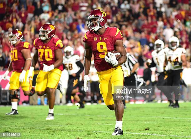 Wide receiver JuJu SmithSchuster of the USC Trojans scores a 67 yard touchodwn for his third touchdown of the game over the Arizona State Sun Devils...