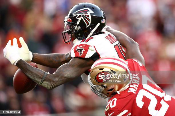 Wide receiver Julio Jones of the Atlanta Falcons does not make the catch due to pass interference by free safety Jimmie Ward of the San Francisco...