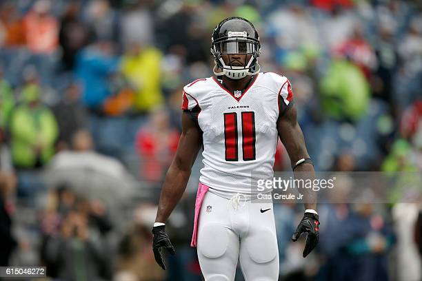 Wide receiver Julio Jones of the Atlanta Falcons warms up to face the Seattle Seahawks at CenturyLink Field on October 16 2016 in Seattle Washington
