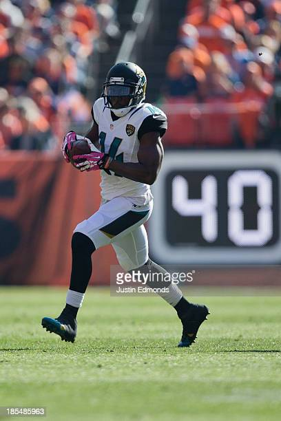 Wide receiver Justin Blackmon of the Jacksonville Jaguars in action against the Denver Broncos at Sports Authority Field at Mile High on October 13...
