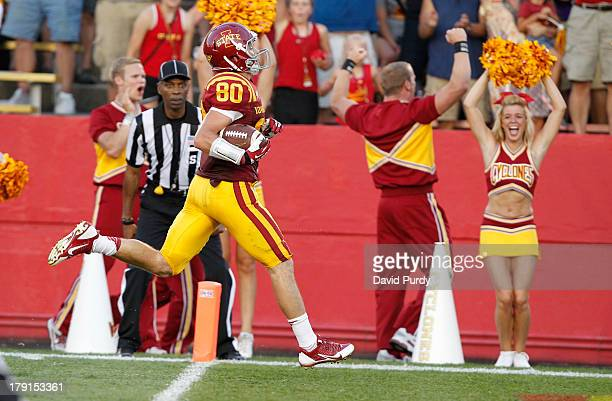 Wide receiver Justin Coleman of the Iowa State Cyclones scores a touchdown in the first half of play against the Northern Iowa Panthers at Jack Trice...