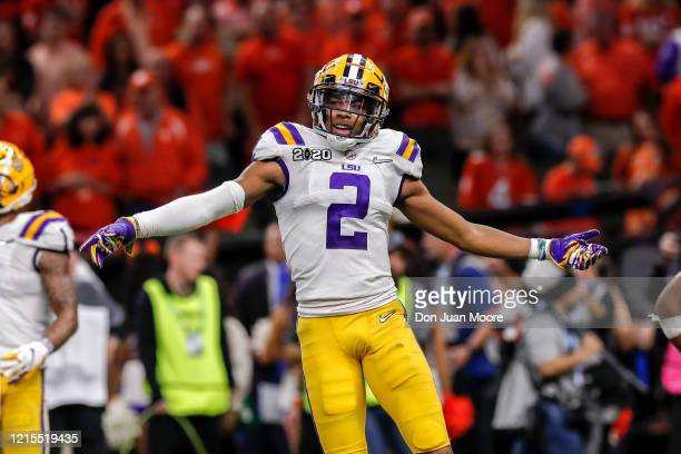 Wide Receiver Justin Jefferson of the LSU Tigers celebrates as the time is ticking away during the College Football Playoff National Championship...