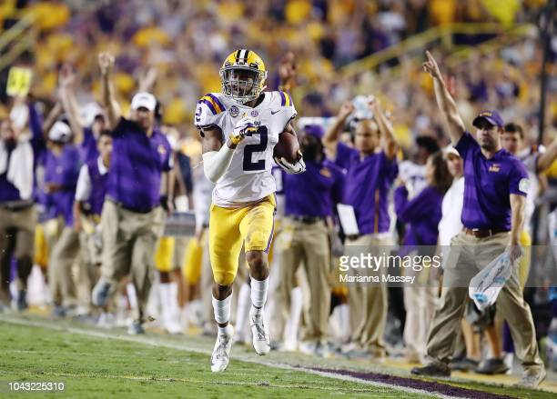 Wide receiver Justin Jefferson of the LSU Tigers scores a 65 yard touchdown against the Mississippi Rebels at Tiger Stadium on September 29 2018 in...