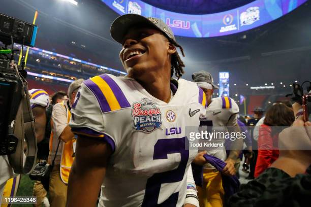 Wide receiver Justin Jefferson of the LSU Tigers walks off the field after winning the ChickfilA Peach Bowl 2863 over the Oklahoma Sooners at...
