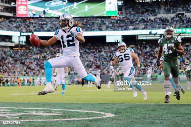Wide receiver Kaelin Clay of the Carolina Panthers scores a touchdown during the fourth quarter of the game at MetLife Stadium on November 26 2017 in...