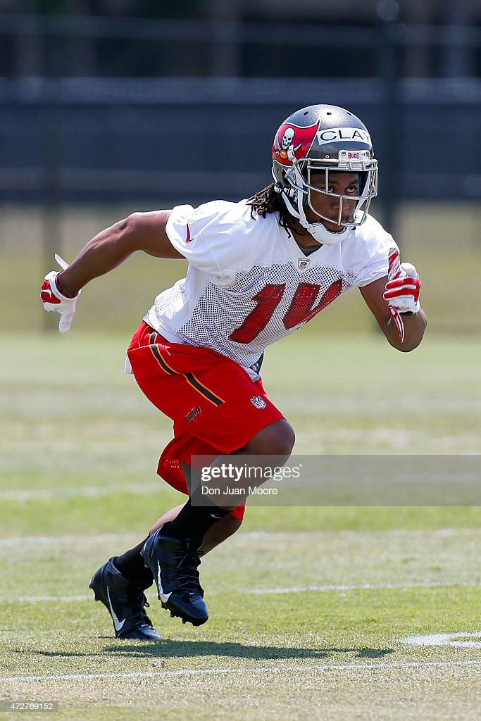 Wide Receiver Kaelin Clay #14 of the Tampa Bay Buccaneers works out during Rookie Mini Camp at One Buccaneer Place on May 9, 2015 in Tampa, Florida.