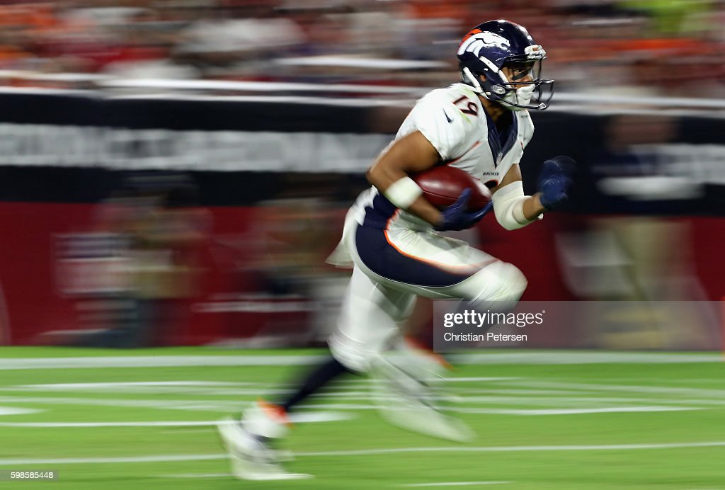 Wide receiver Kalif Raymond #19 of the Denver Broncos returns a kick off against the Arizona Cardinals during the preseaon NFL game at the University of Phoenix Stadium on September 1, 2016 in Glendale, Arizona. The Cardinals defeated the Broncos 38-17.