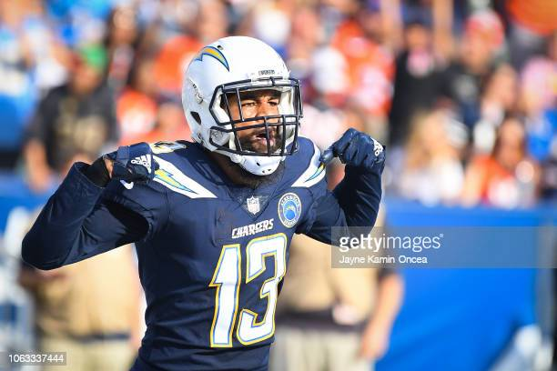 Wide receiver Keenan Allen of the Los Angeles Chargers celebrates after making a touchdown in the second quarter against the Denver Broncos at...