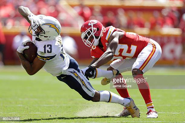 Wide receiver Keenan Allen of the San Diego Chargers catches a pass in front of cornerback Marcus Peters of the Kansas City Chiefs during the second...