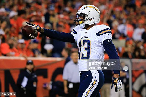 Wide receiver Keenan Allen of the San Diego Chargers celebrates after catching a 2yard second quarter touchdown pass against the Denver Broncos...