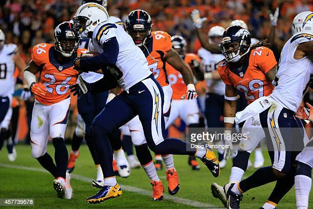 Wide receiver Keenan Allen of the San Diego Chargers crosses the goal line with a 2yard second quarter touchdown reception against the Denver Broncos...