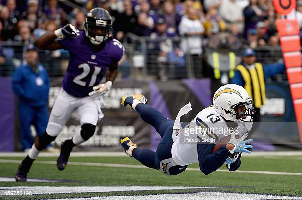 Wide receiver Keenan Allen of the San Diego Chargers makes a first quarter touchdown catch past cornerback Lardarius Webb of the Baltimore Ravens...