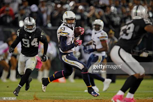 Wide receiver Keenan Allen of the San Diego Chargers picks up 30 yards on a catch against the Oakland Raiders late in the fourth quarter on October...