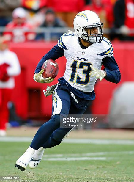 Wide receiver Keenan Allen of the San Diego Chargers runs down field in the second half of a game against the Kansas City Chiefs on November 24 2013...