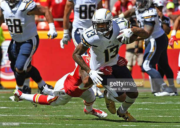 Wide receiver Keenan Allen of the San Diego Chargers turns up field after catching a pass against the Kansas City Chiefs during the first half on...