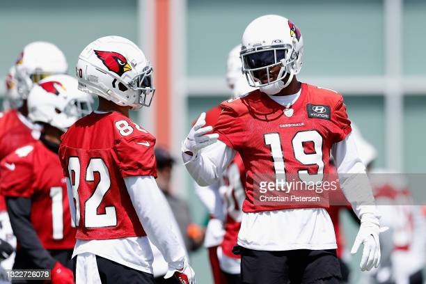 Wide receiver KeeSean Johnson of the Arizona Cardinals participates in an off-season workout at Dignity Health Arizona Cardinals Training Center on...