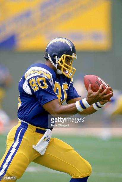 Wide receiver Kellen Winslow of the San Diego Chargers catches the ball during a game at Jack Murphy Stadium during the 1984 NFL season in San Diego...
