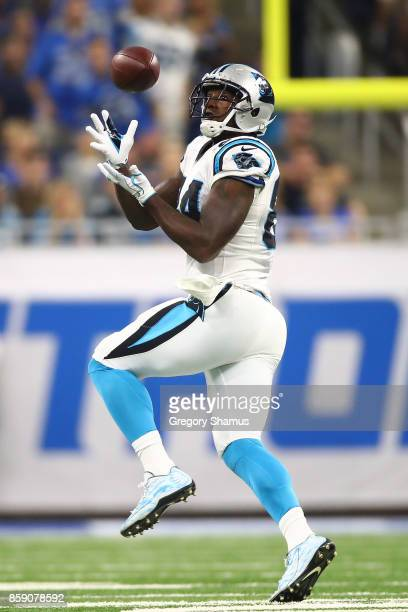 Wide receiver Kelvin Benjamin of the Carolina Panthers makes a catch against the Detroit Lions during the first half at Ford Field on October 8 2017...