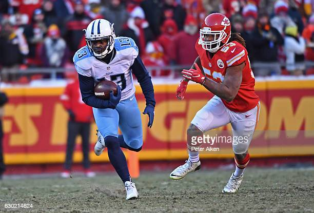 Wide receiver Kendall Wright of the Tennessee Titans rushes up field after catching a pass past linebacker Ramik Wilson of the Kansas City Chiefs...