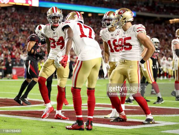 Wide receiver Kendrick Bourne of the San Francisco 49ers celebrates his touchdown in the second quarter over the Arizona Cardinals in the game at...