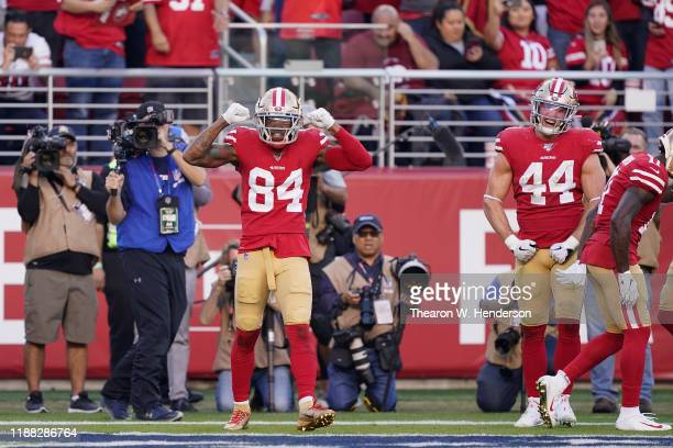 Wide receiver Kendrick Bourne of the San Francisco 49ers celebrates after scoring on a two yard touchdown reception against the Arizona Cardinals...